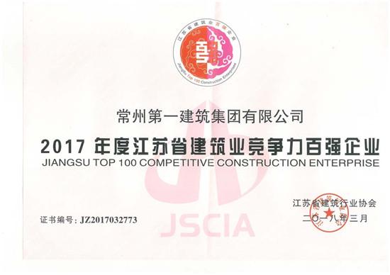 2017年度江苏省竞争力百强